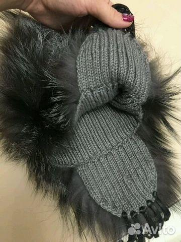 шапка из чернобурки вязаная Festimaru мониторинг объявлений