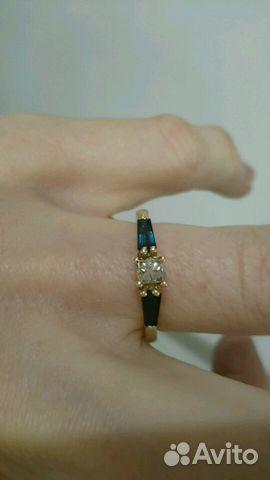 Золотое кольцо с сапфирами и бриллиантом купить в Москве на Avito ... b17480139c8