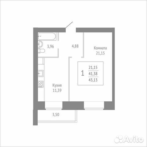 1-к квартира, 43.1 м², 8/14 эт. 89115506177 купить 1