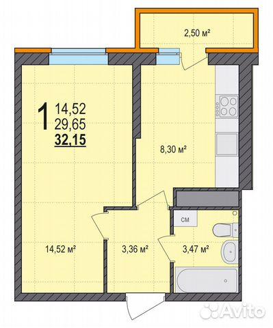 1-к квартира, 32.2 м², 17/18 эт. 84822415888 купить 3