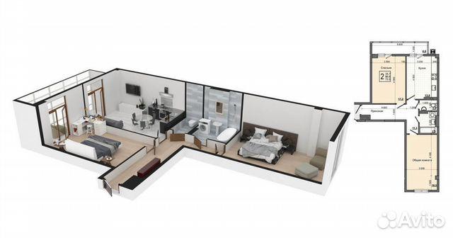 2-к квартира, 73.5 м², 7/9 эт.