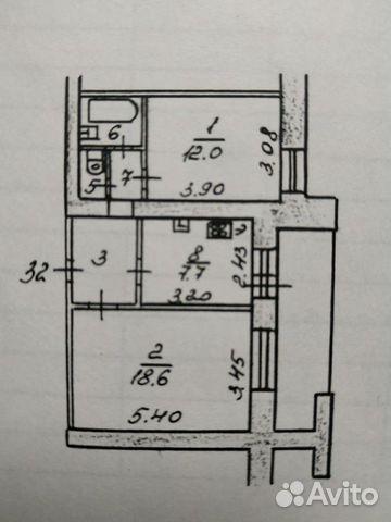 2-к квартира, 48 м², 3/12 эт.  89586021896 купить 2