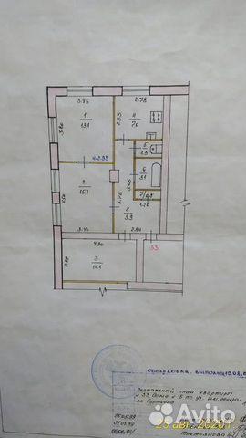 3-к квартира, 64.4 м², 2/4 эт.  89050627581 купить 1