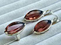 Комплект серебро с кварцами родолитами, новый
