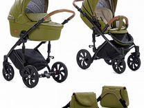 Детская коляска 2в1 Tutis Viva Life, кожа болотный